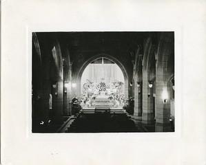 Saint Mary's Hall interior: chapel and pews