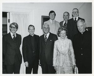 Celebrating their 25th anniversary at BC: Radu R. Florescue, J. Donald Monan, Justin Cronin, Margaret Griffin, Arthur MacGillivray, John McAleer, John J. Walsh, and Daniel McCue